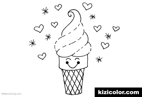 cute food cartoon ice cream kizi free coloring pages