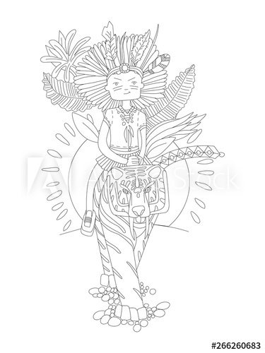 cute hand draw coloring page with brave wild child girl