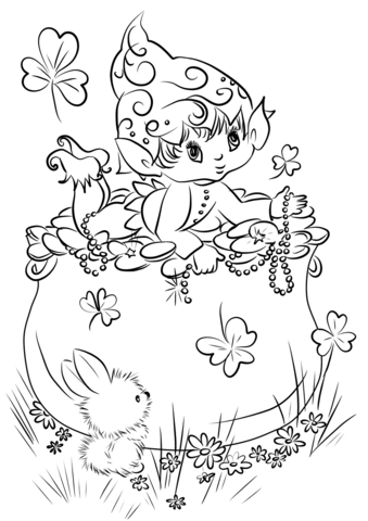 cute leprechaun on a pot of gold coloring page free