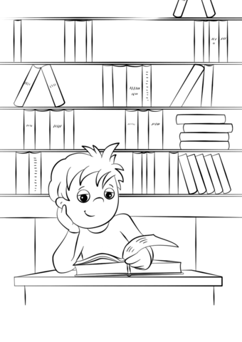 cute little boy reading a book at the library coloring page