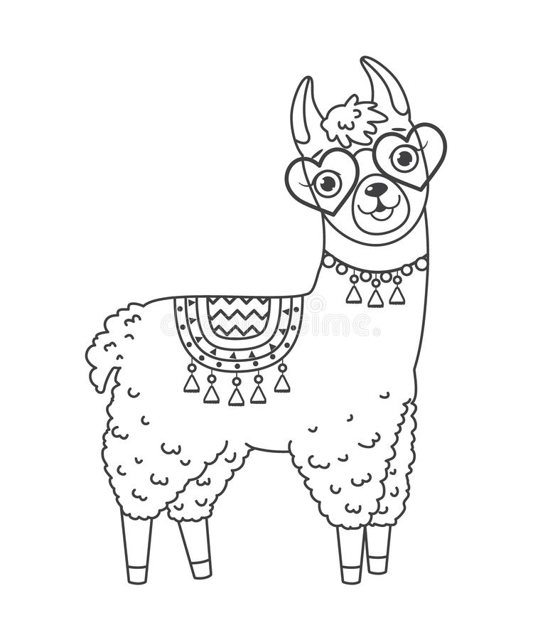 cute outline doodle llama in sunglasses with hand drawn