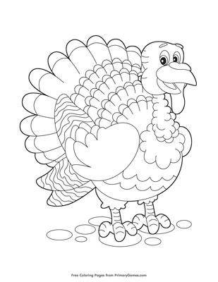 cute turkey coloring page free printable pdf from primarygames