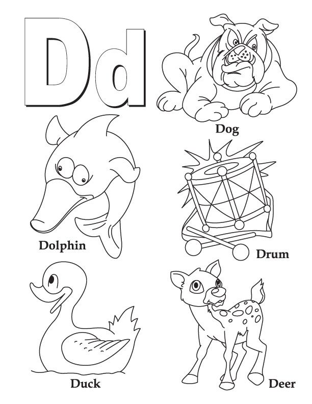 d dog dolphin drum duck deer alphabet coloring pages book