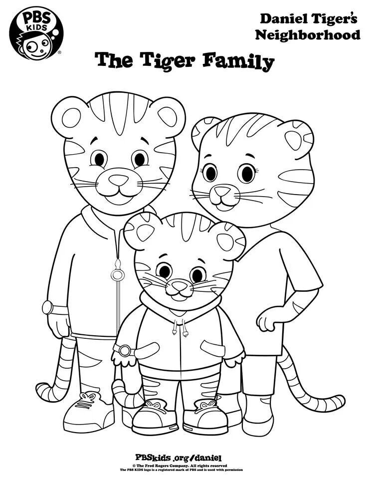 daniel tigers family to color daniel tiger daniel