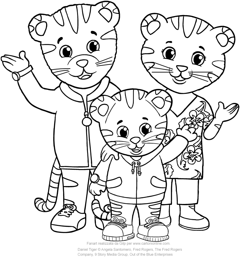 daniel with dad and mom tiger coloring pages