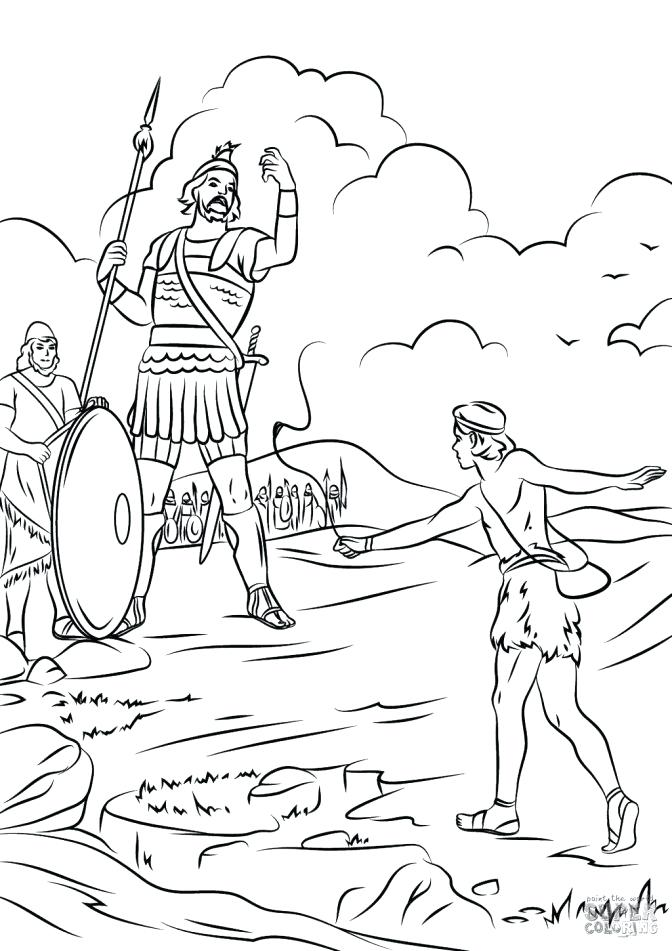 david and goliath coloring page staggering picture