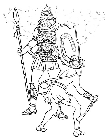 david and goliath fight coloring page free printable