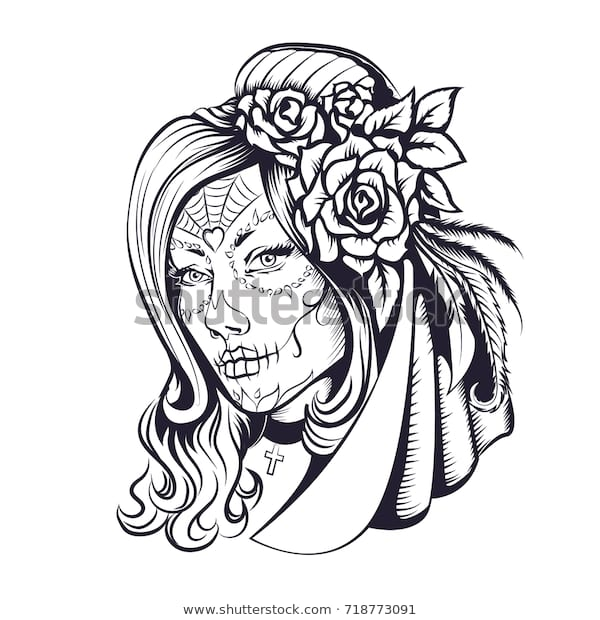 day dead makeup girl flowers hair stockillustration 718773091