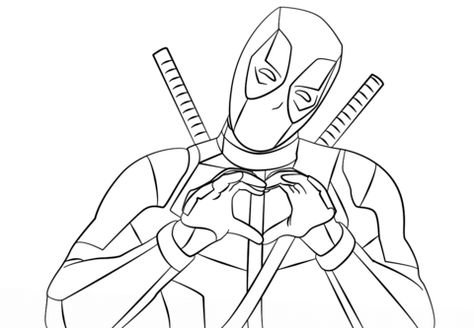 deadpool making heart shape with hands coloring page