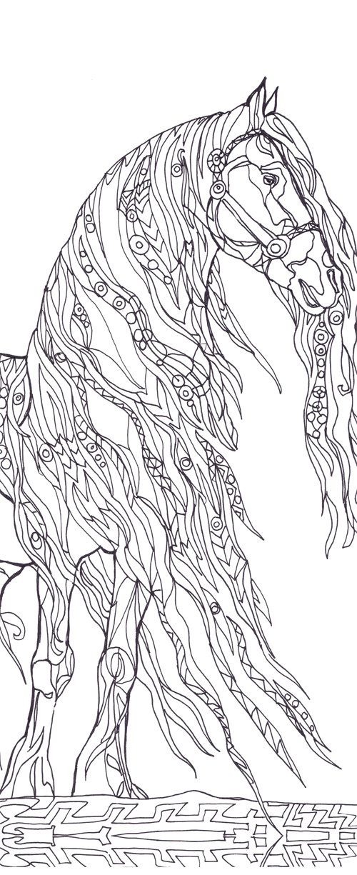 detailed horse coloring pages for adults