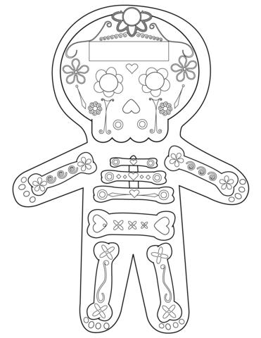 dia de los muertos skeleton coloring page free printable