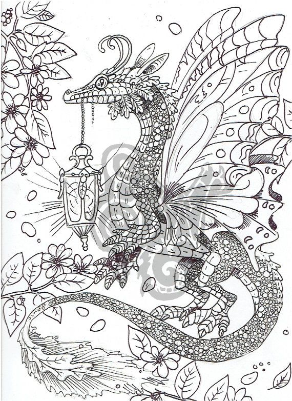 digital coloring page dragon in the garden shadowind on