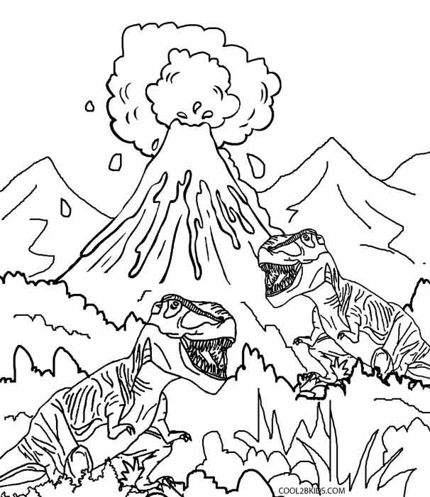dinosaur and volcano coloring pages