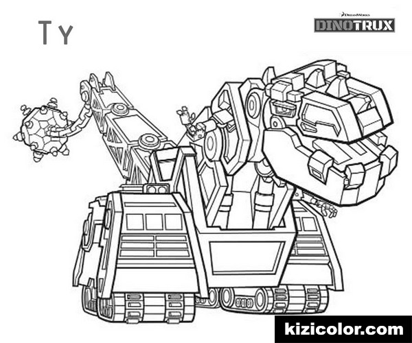 dinotrux ty black and white kizi free coloring pages