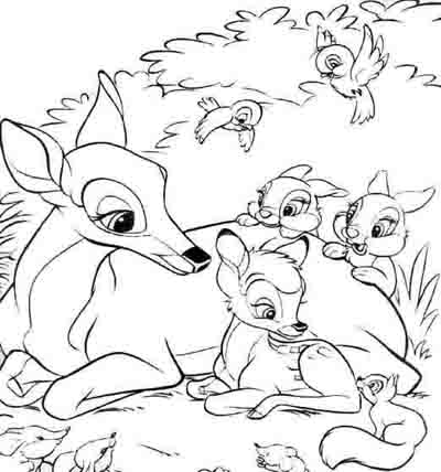 disney bambi and friends coloring page
