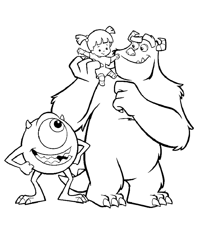 disney coloring page monsters inc sulley and mike with