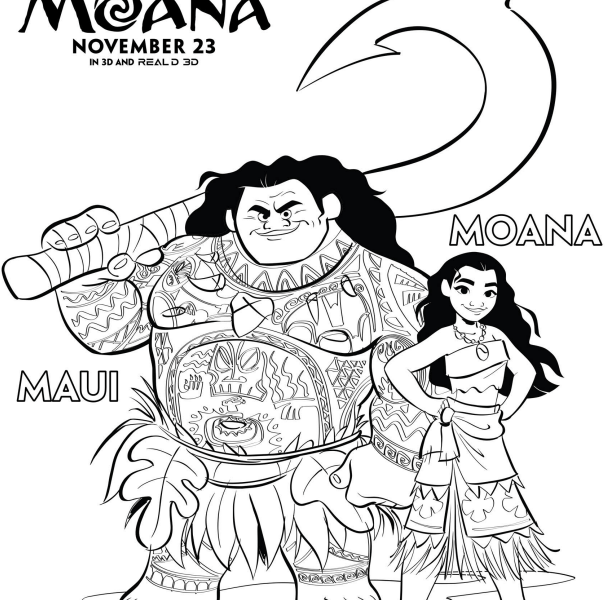 disneys moana coloring pages moana lovebugs and postcards