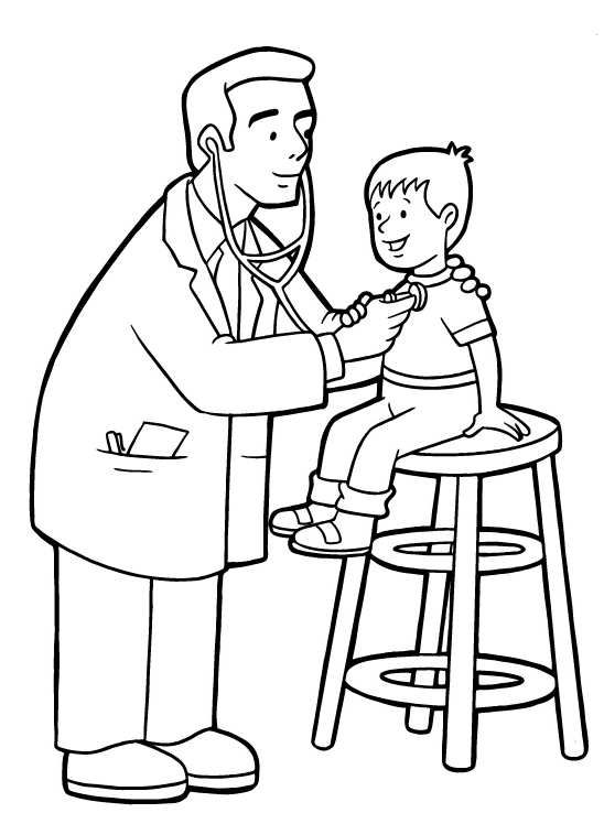 doctor checking up a child in community helper coloring