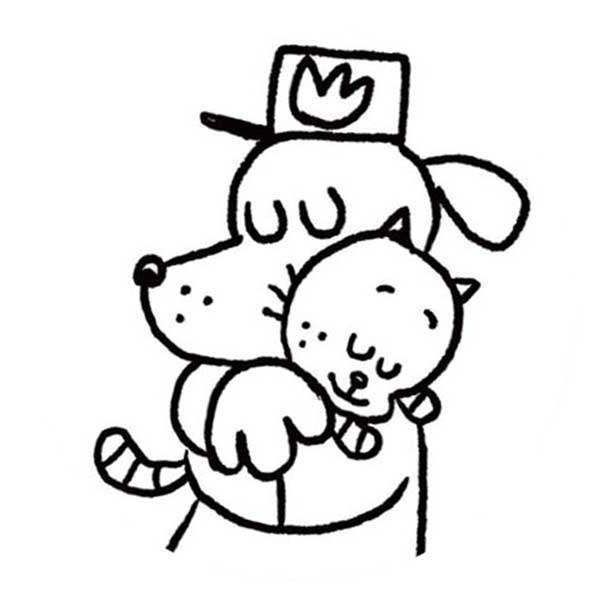 dog man coloring pages with cat printable get coloring