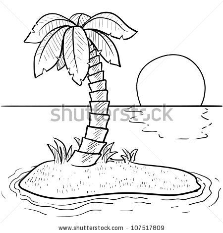 doodle style tropical or deserted island with palm tree and