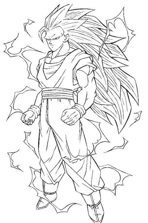 dragon ball z coloring pages goku super saiyan desenhos