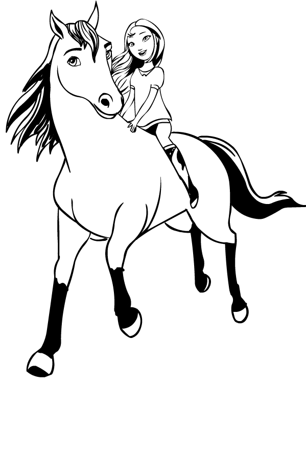 drawing of spirit riding free coloring page