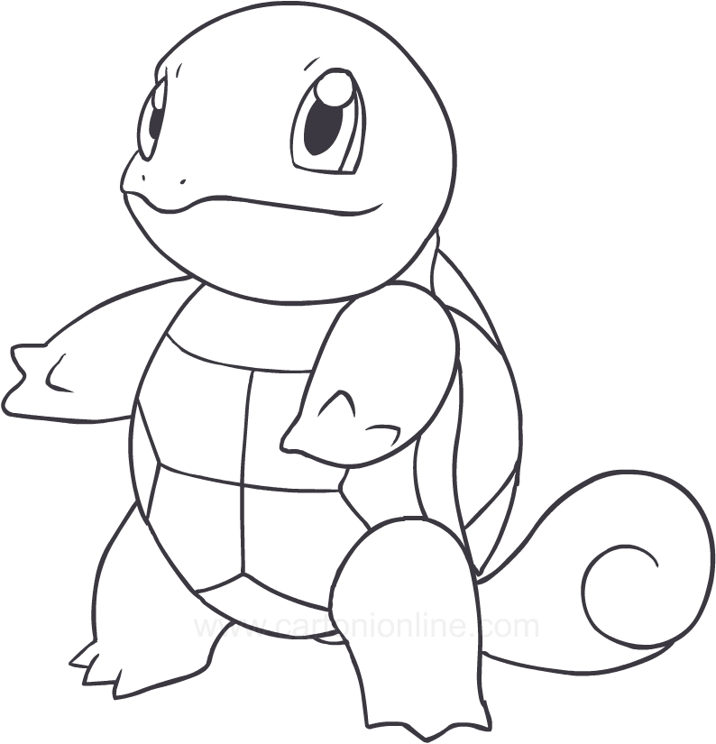 drawing squirtle of the pokemon coloring page
