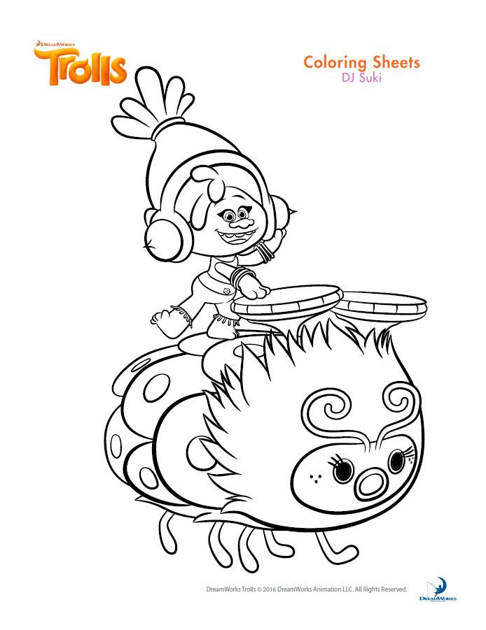 dreamworks trolls coloring book printables coloring pages