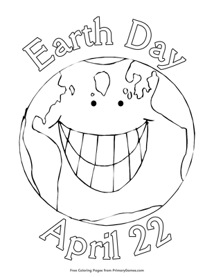 earth day coloring page free printable pdf from primarygames