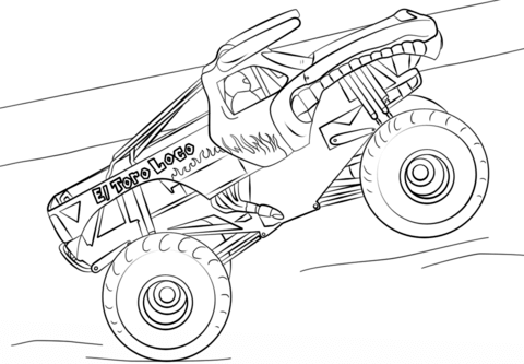 el toro loco monster truck coloring page free printable