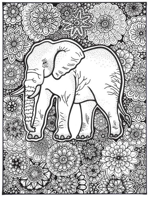 elephant coloring page coloring book pages printable adult coloring hand drawn art therapy instant download print