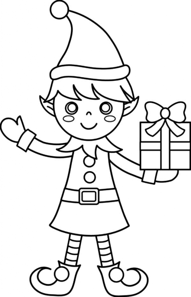 elf colouring in christmas coloring pages