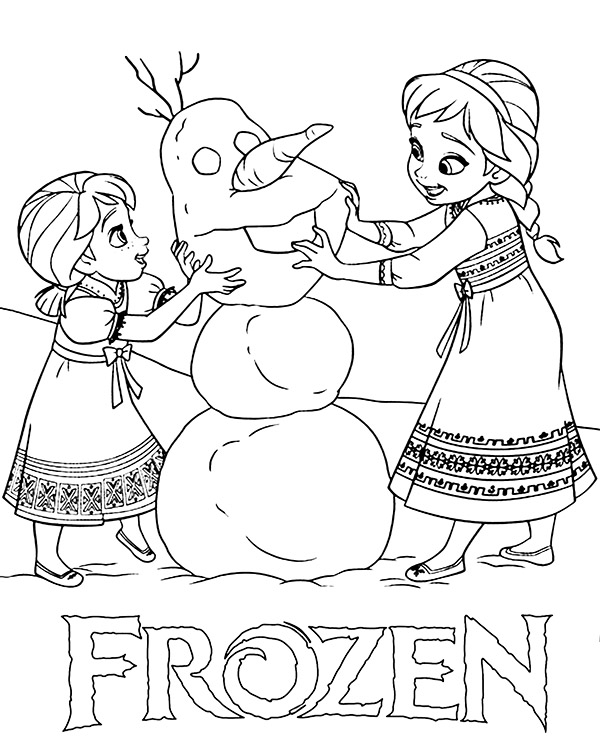 elsa and anna as children new frozen coloring page