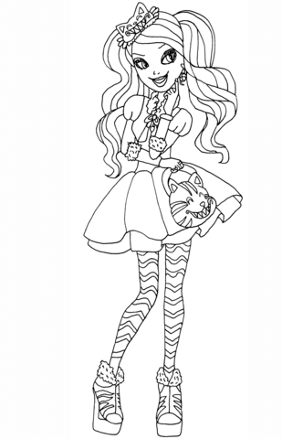 ever after high kitty cheshire coloring page free