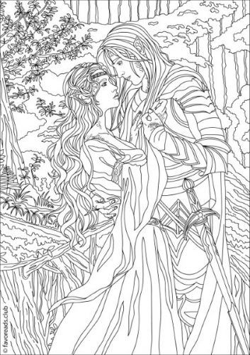 fantasia fantasy romance printable adult coloring pages