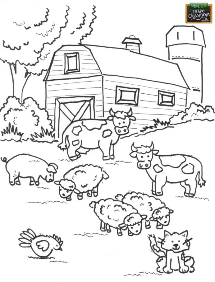farmer coloring vector drawing free art farm preschool best