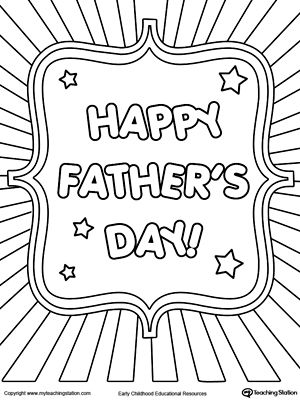 fathers day card burst coloring page my english world