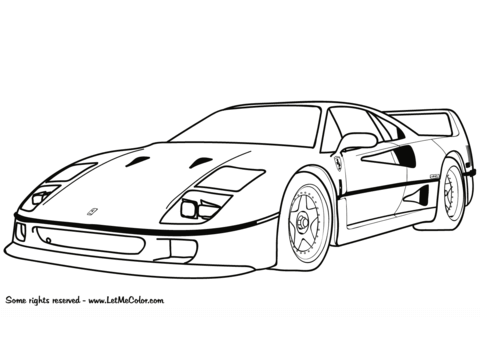 ferrari f40 coloring page free printable coloring pages