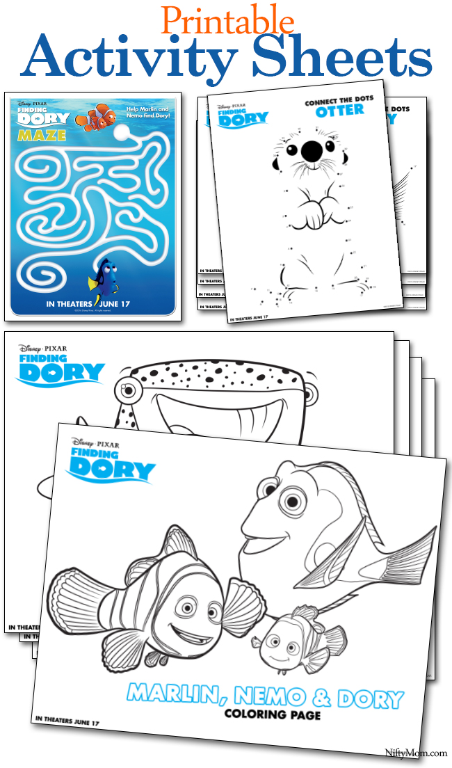 finding dory printable coloring pages activity sheets