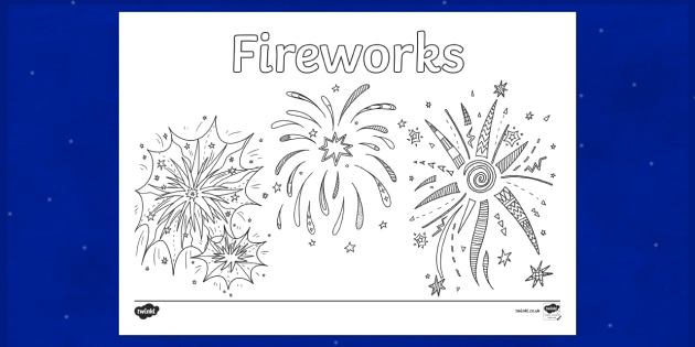 fireworks coloring page teacher made