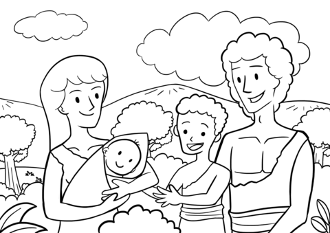 first children of adam and eve coloring page free