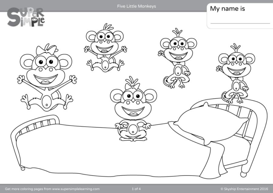 five little monkeys coloring pages super simple
