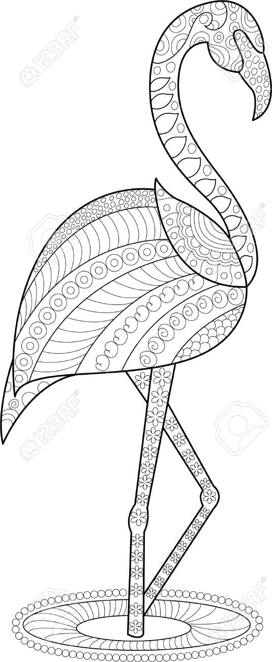 flamingo coloring page for adults and children