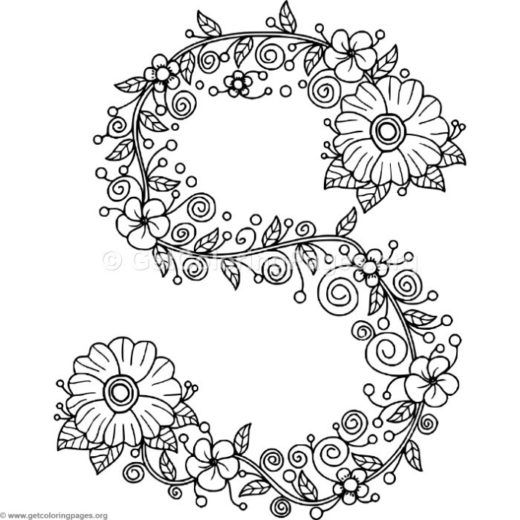 floral letters coloring getcoloringpages alphabet
