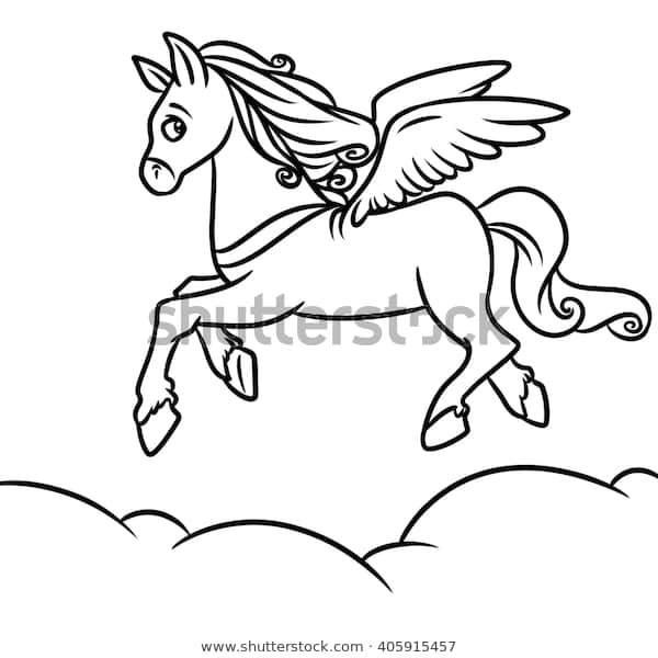 flying horse pegasus coloring pages cartoon