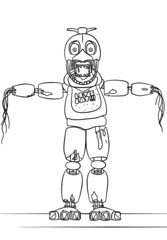 fnaf withered chica omalovnka free printable coloring pages