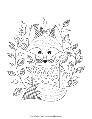 fox with leaves coloring page free printable pdf from