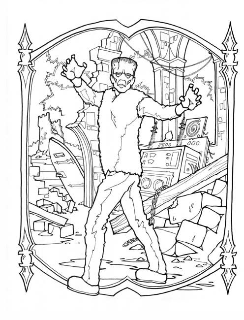 frankenstein coloring page halloween coloring pages