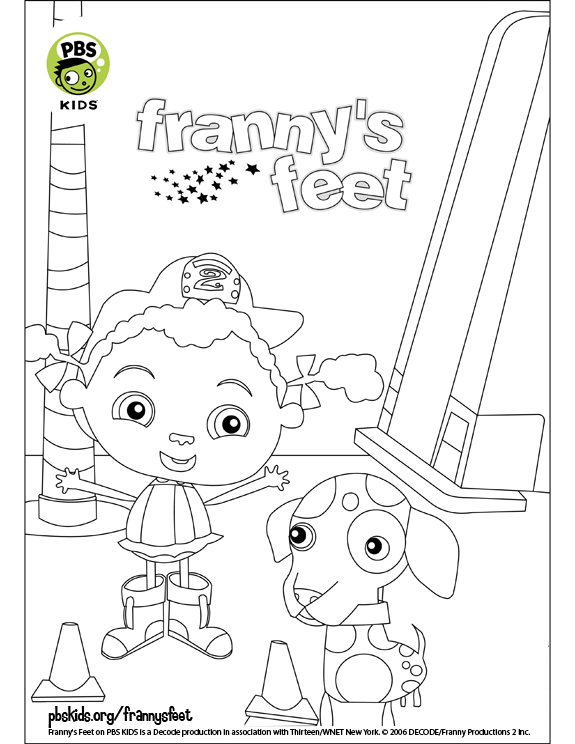 frannys feet coloring pages pbs kids