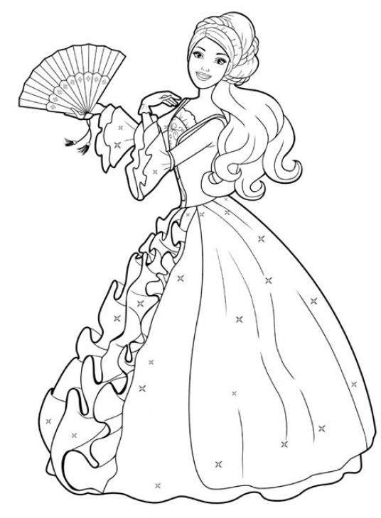 free barbie with ball gown coloring page princess coloring